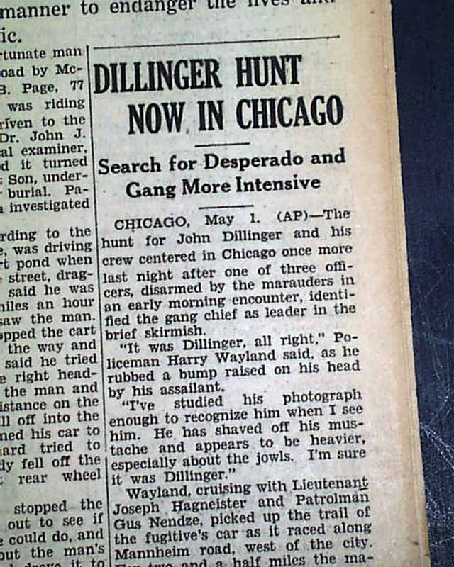Mobs, Gangsters & Criminals Outlaw John Dillinger Hunted In Chicago Post Little Bohemia Lodge 1934 Newspaper