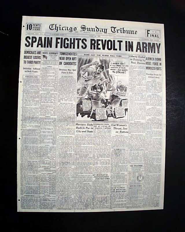 Coup Spain: SPANISH CIVIL WAR Begins Rebellion MADRID Spain Republic