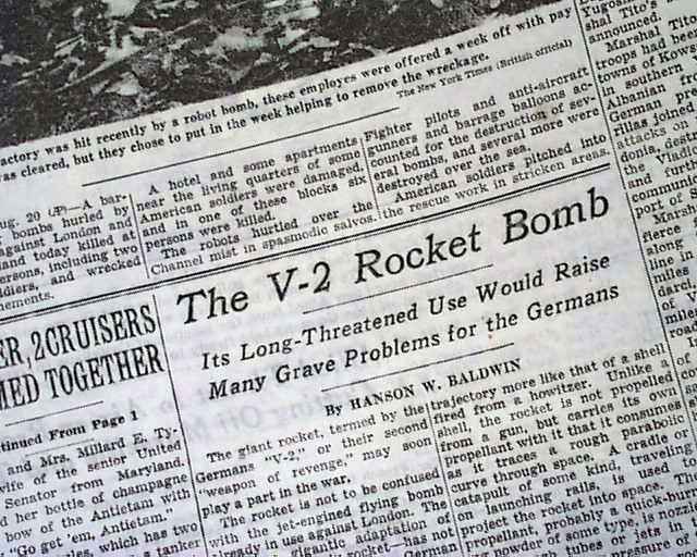 1944 V-2 rocket bomb threat... Nazis... - RareNewspapers.com