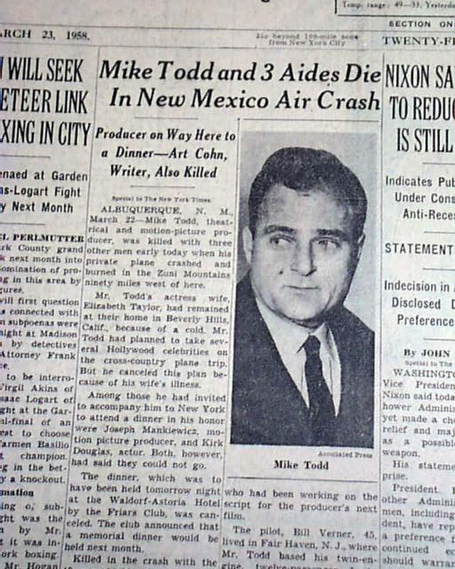 Mike Todd (Elizabeth Taylor's husband) airplane crash ...