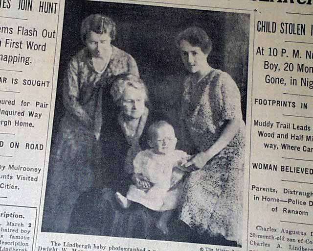 lindbergh baby kidnapping in 1932 1st report rarenewspapers com