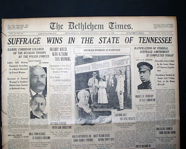 Suffrage Wins In Tennessee 19th Amendment Is Ratified