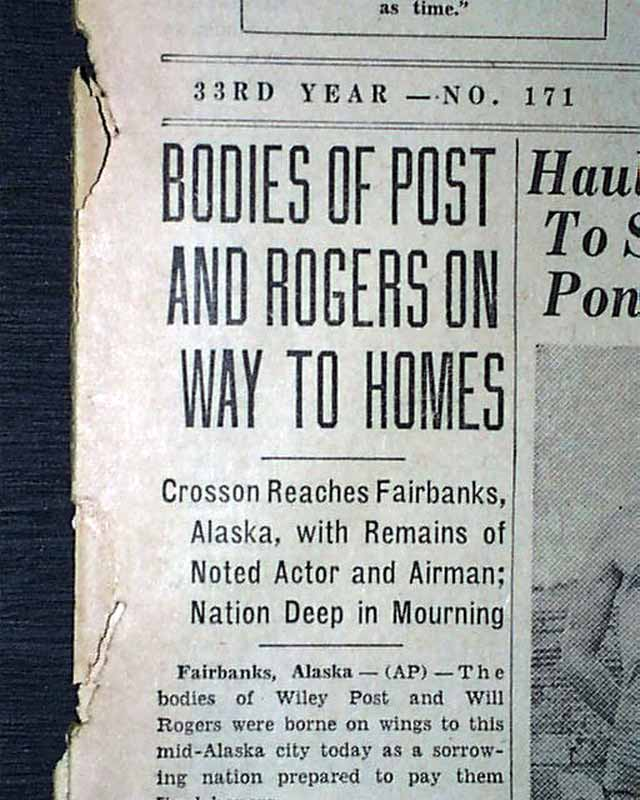 Will Rogers & Wiley Post Death In 1935