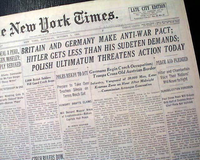 Munich Agreement Of 1938 Sudetenland Rarenewspapers