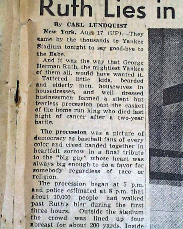 Death Of Babe Ruth 1948 Rarenewspapers Com