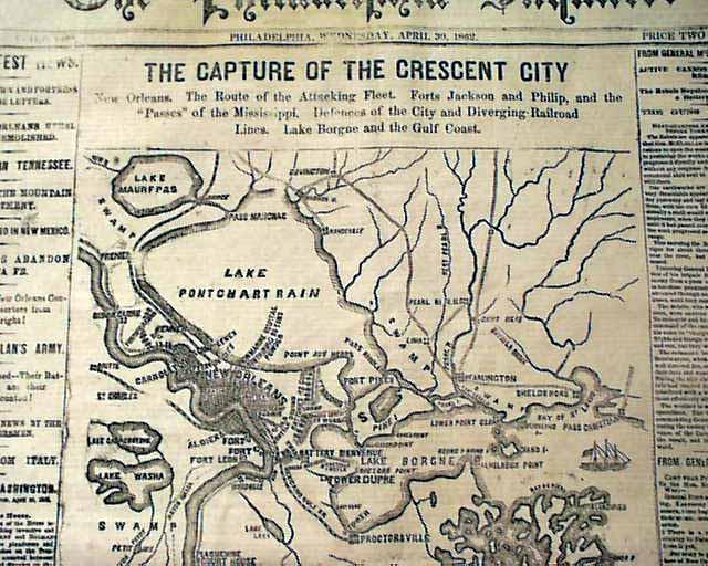 Capture of New Orleans... Civil War map ...
