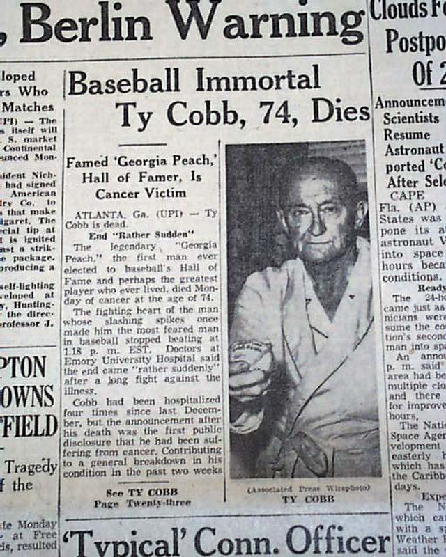 The death of baseball great Ty Cobb... - RareNewspapers.com