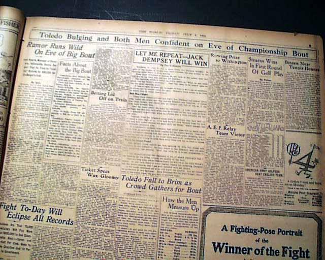 1919 Jack Dempsey vs  Jess Willard    - RareNewspapers com