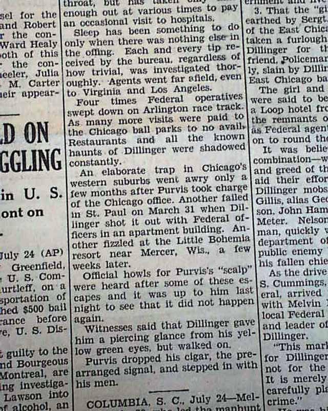 John Dillinger Shot Dead Melvin Purvis