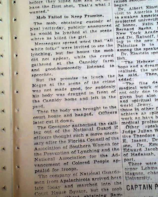 MARIANNA Jackson County FLORIDA Negro Lynching CLAUDE NEAL