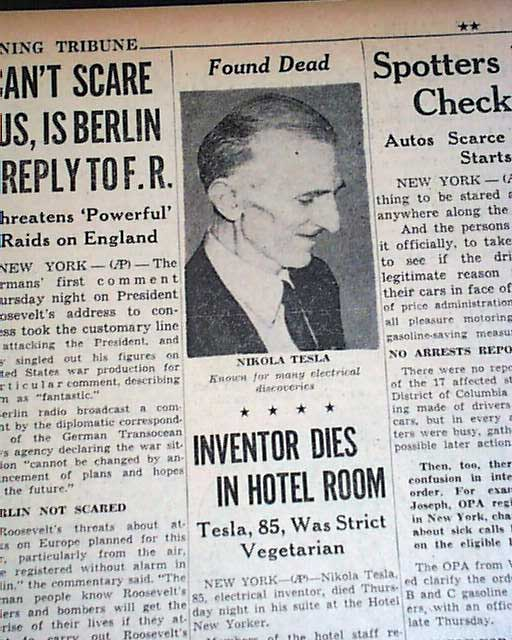 Nikola Tesla Death In 1943 Rarenewspapers Com