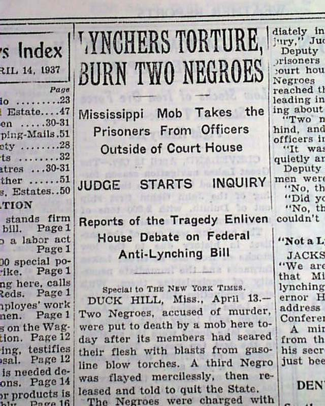 Duck Hill Ms >> Duck Hill Mississippi Negro Lynchings Rarenewspapers Com