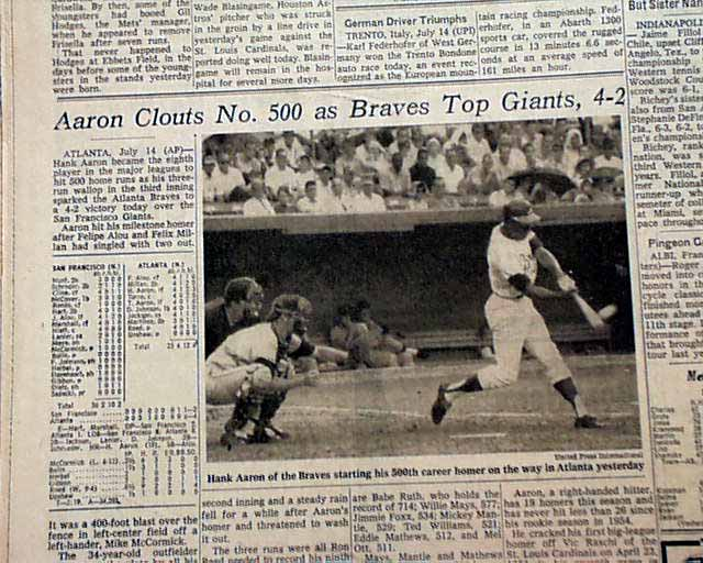 Image result for hank aaron hits number 500 in 1968