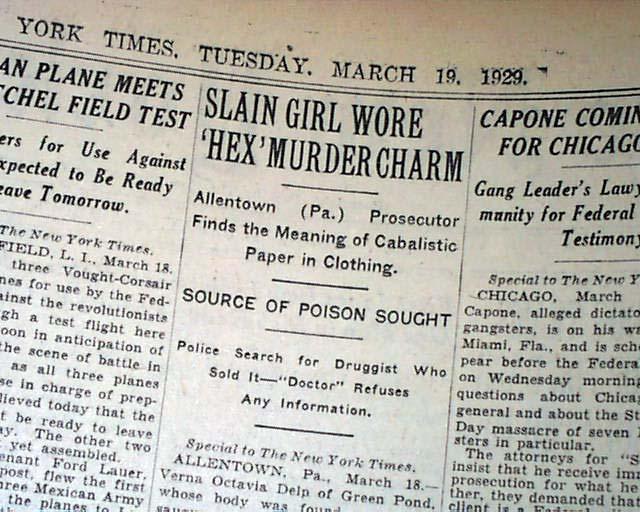 Details about Verna Delp HEX MURDER Powwow Doctor Catasauqua Lehigh County  PA 1929 Newspaper