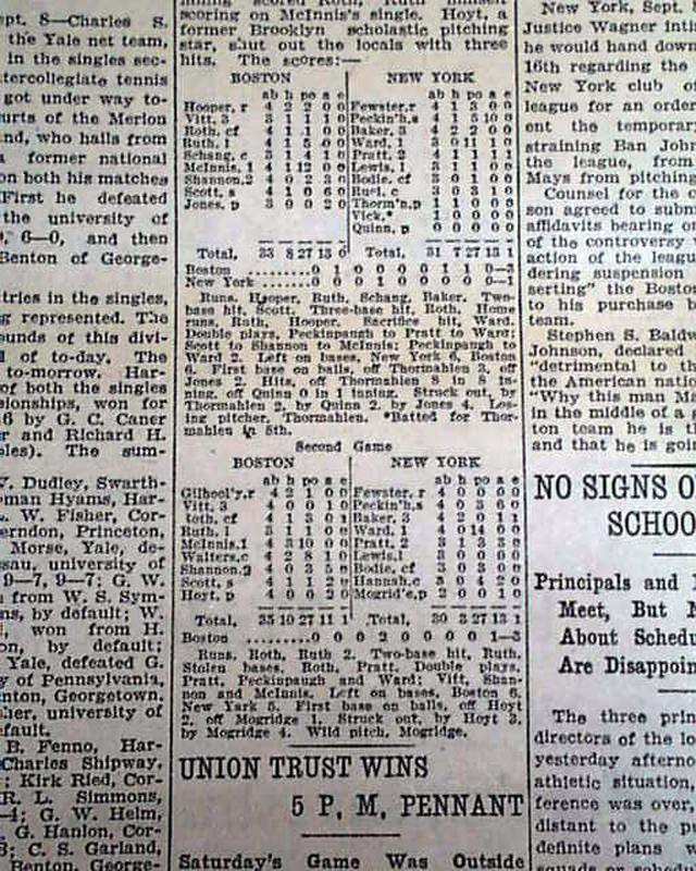 Early Babe Ruth Home Run Record Rarenewspapers Com
