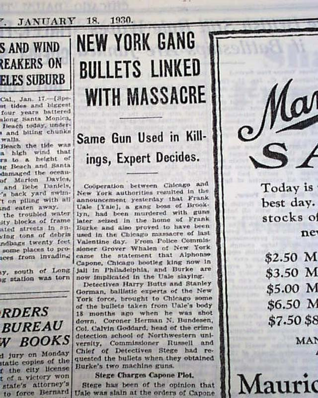 Re 1929 St Valentine S Day Massacre Probe Rarenewspapers Com