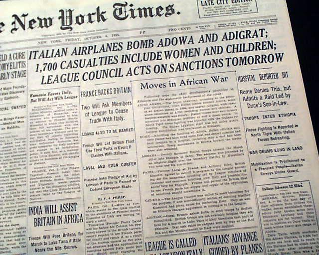 Italy invades Ethiopia... - RareNewspapers.com