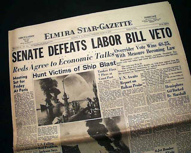taft hartley act The labor-management relations act, commonly known as the taft-hartley act, is a united states federal law that greatly restricts the activities and power of labor unions.