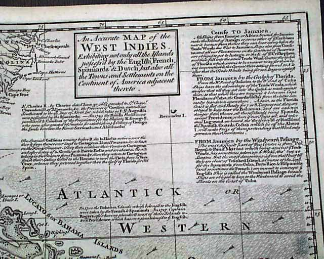 Great WEST INDIES Southeast US Carribbean RARE 18th Century 1740
