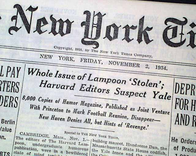 The Harvard Lampoon stolen by Yale ?     - RareNewspapers com
