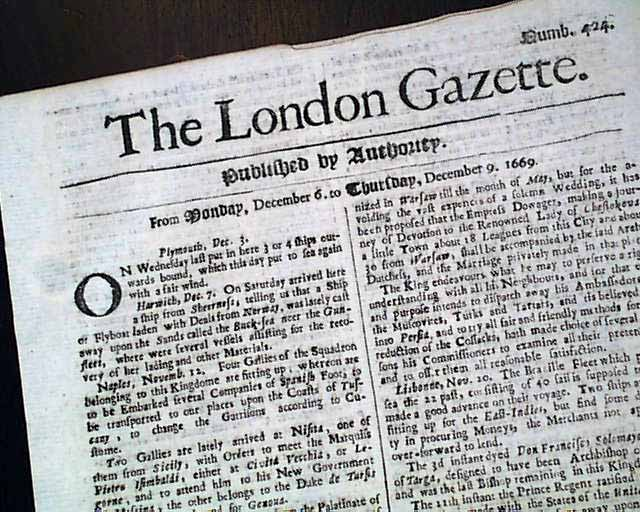 Genuine London Gazette newspaper from 1669