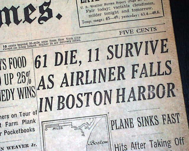 Flight 375 Airplane Crash Boston Harbor