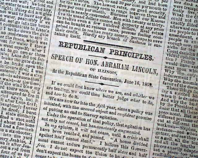 abraham lincolns house divided speech