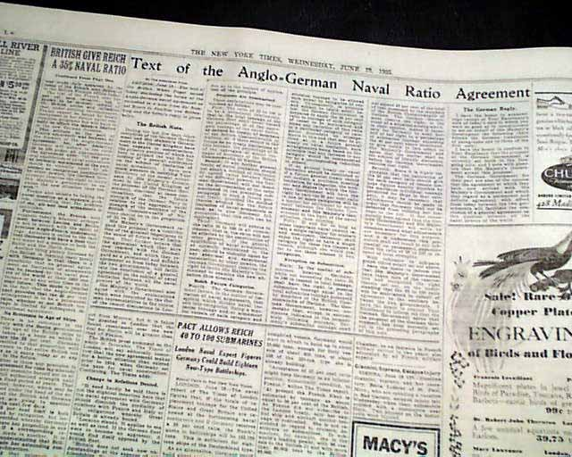 Anglo German Naval Agreement Rarenewspapers