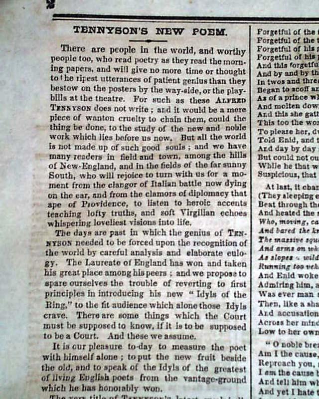Alfred Lord Tennyson Poems Rarenewspaperscom