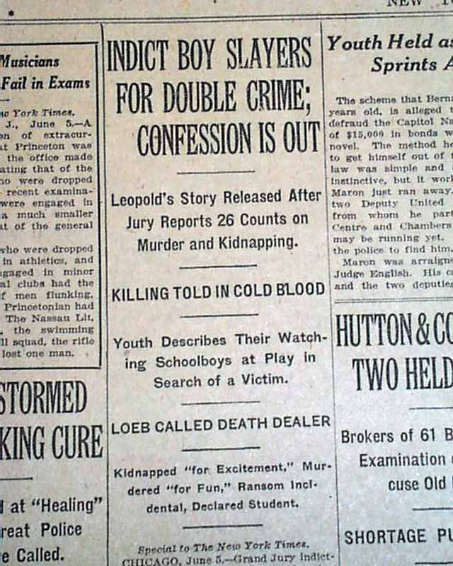 Leopold and Loeb are indicted    - RareNewspapers com