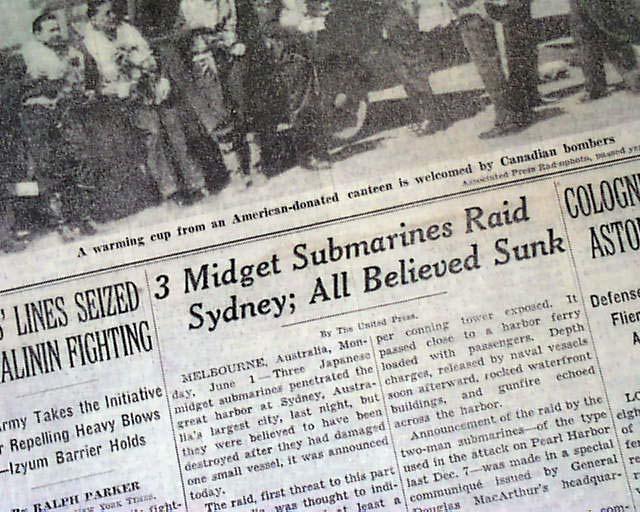 Japanese midget submarine newspaper accounts