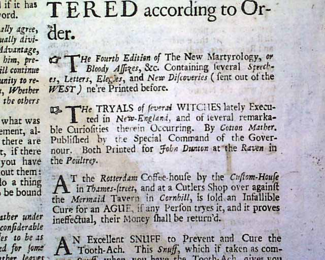A 1693 ad for the book on the Salem witch trials    - RareNewspapers com