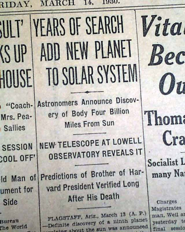 Discovery Of Pluto: Planet Pluto Officially Discovered In 1930
