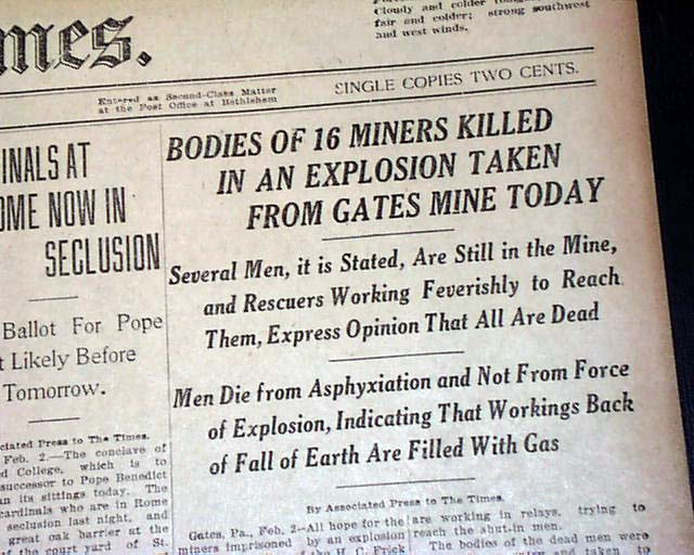 Details about GATES Fayette County PA Pennsylvania Mine Mining EXPLOSION  1922 Old Newspaper
