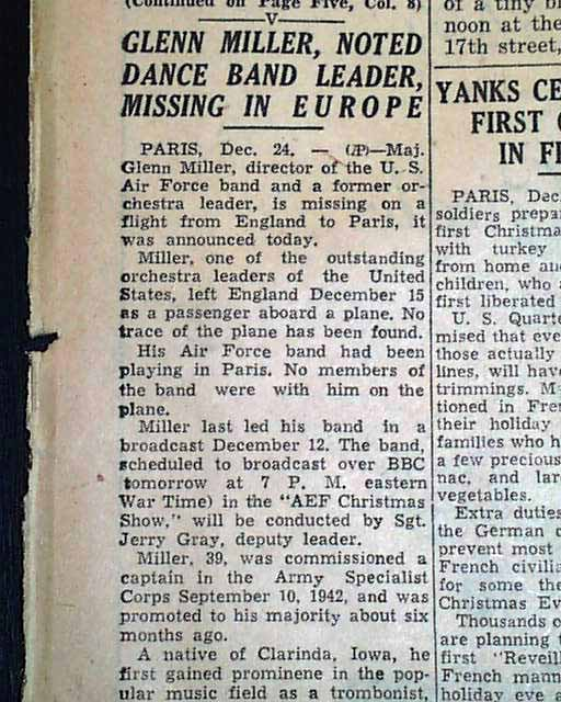 Glenn Miller Missing In 1944 Rarenewspapers Com