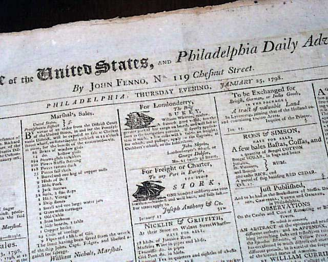 Rare 18th Century Capital Of Philadelphia Pennsylvania