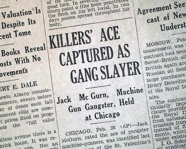 St Valentine S Day Massacre Arrest Jack Mcgurn