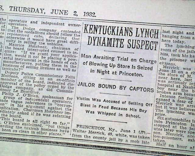 Details about PRINCETON KY Caldwell County Jail Kentucky LYNCHING Hanging  1932 Old Newspaper