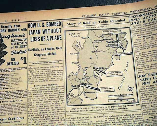 1942 Doolittle raid of Japan... - RareNewspapers.com on