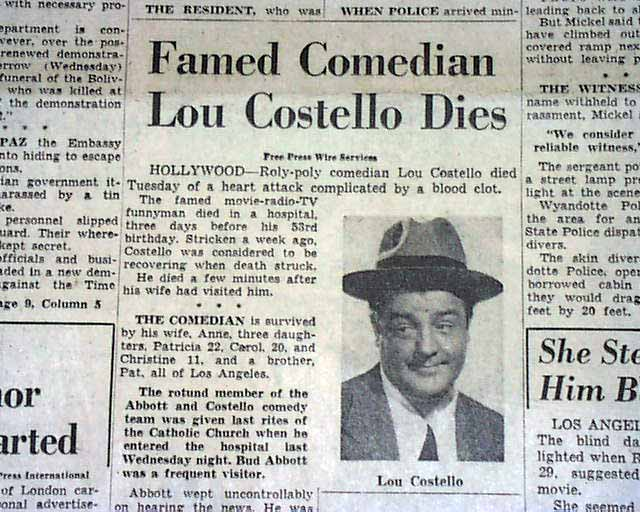 1959 death of comedian actor lou costello rarenewspapers com
