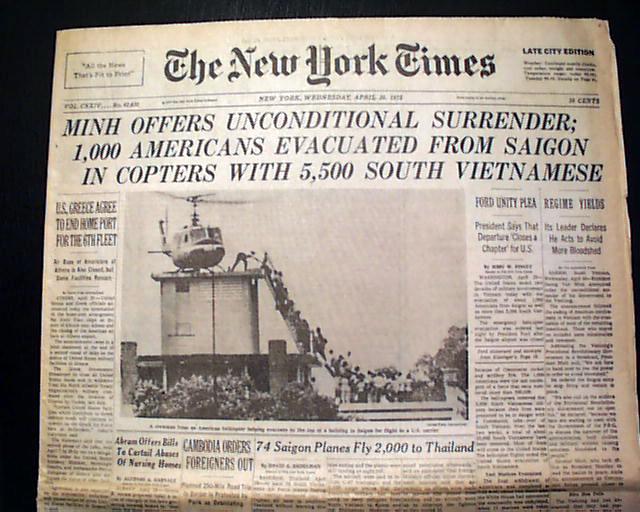 Fall of Saigon    Vietnam war ends    - RareNewspapers com
