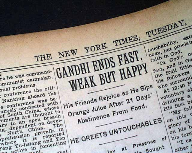 Mahatma Gandhi starts his 21-day fast... - RareNewspapers.com