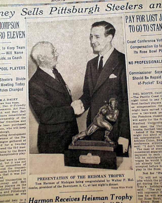 Details about MICHIGAN WOLVERINES Tom Harmon College Football HEISMAN  TROPHY 1940 Newspaper