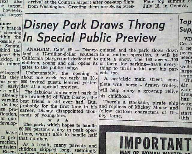 Disneyland amusement theme park anaheim california opening day 1955 disneyland amusement theme park anaheim california opening day 1955 newspaper image076 freerunsca