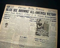 7d0e6bafe00 CLEVELAND BROWNS Very 1st NFL Football Game   Win LOU GROZA 1946 Old  Newspaper