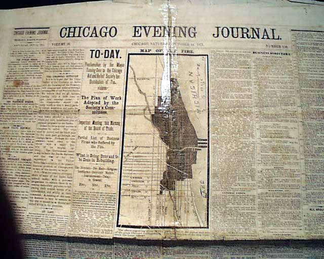 Chicago Newspaper With A Map Of The Great Chicago Fire
