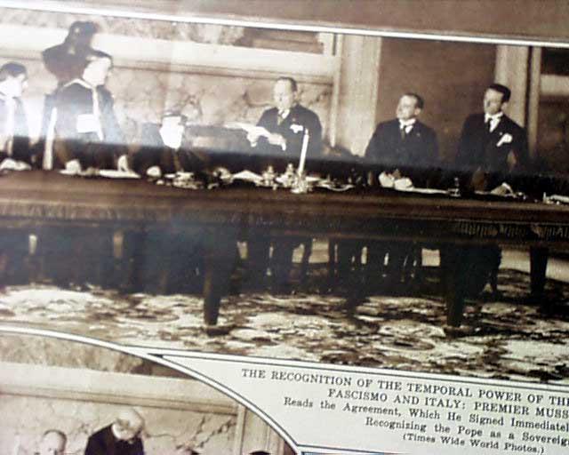Lateran Treaty Benito Mussolini Rarenewspapers