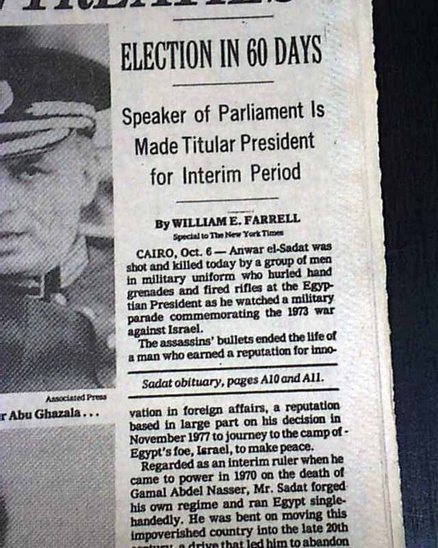 a history of the assassination of the egyptian president anwar sadat