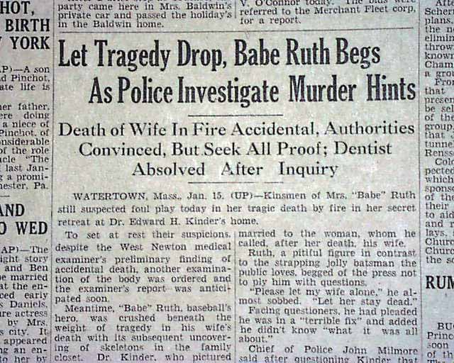 Mrs Babe Ruth Death 1929 Rarenewspapers Com