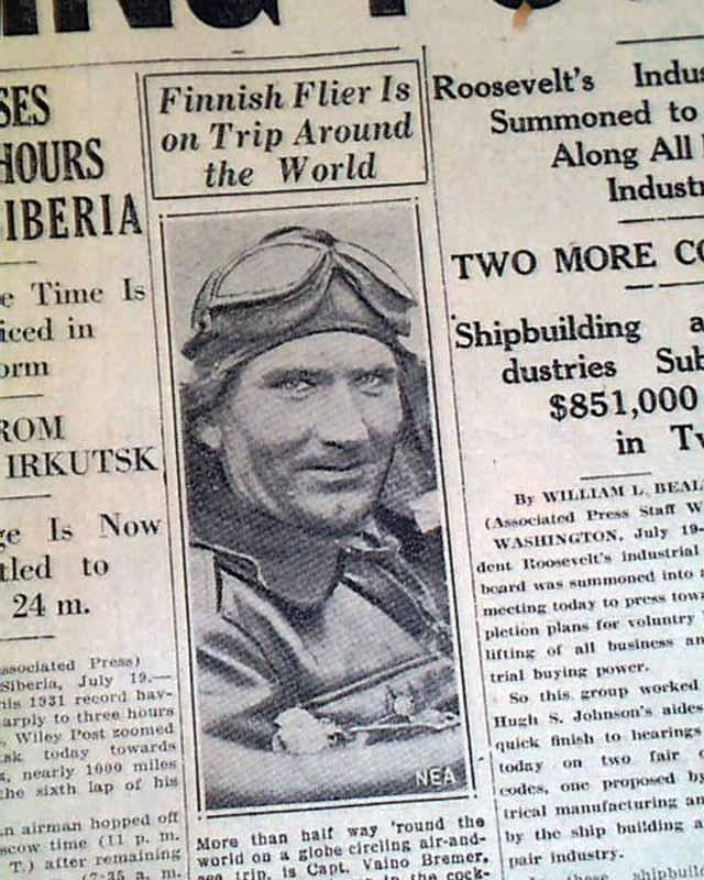 Wiley Post Around World (1st Solo) Flight